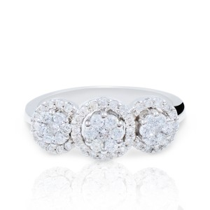 White Diamond Three Stone Cluster In 18k Gold (19177) Engagement Ring