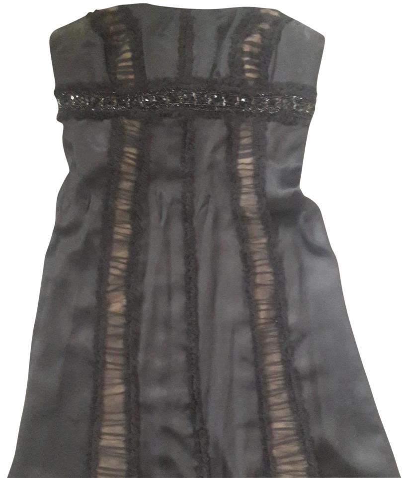 Badgley Mischka Strapless Silk Black Lace Illusion With Hand Beading Around The Bodice Short Cocktail Dress Size 4 S 72 Off Retail