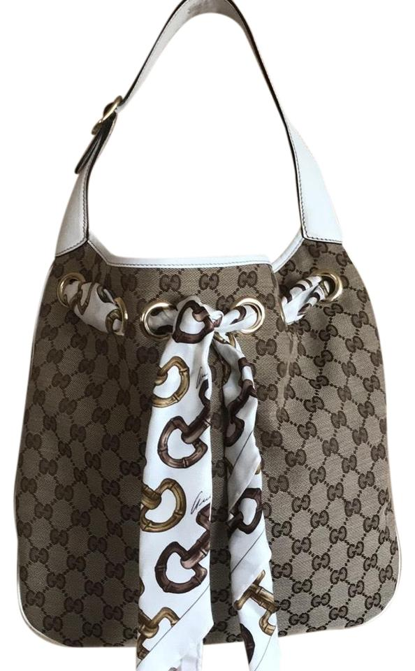 45a7ba6bedb Gucci Positano Beige Monogram Canvas   Ivory Leather Trim and ...