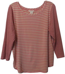 Sundance Knit Xl Cotton Striped Top Pink, Tan