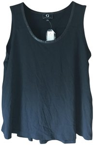 G by Giuliana New With Tags Faux Snakeskin Rounded Neckline Inset Pleat Polyester Top Black