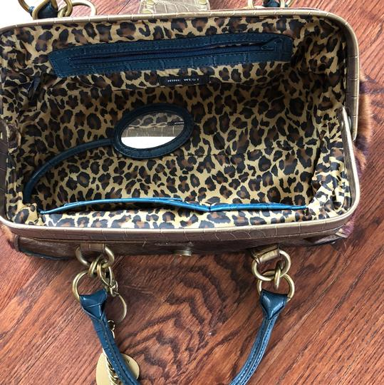 Nine West Satchel in blue and animal print