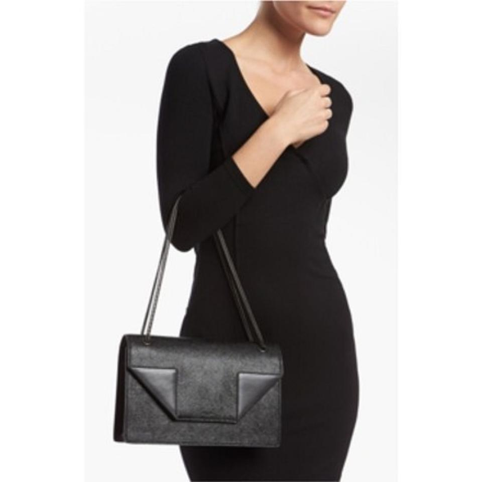 Saint Laurent Betty Medium Grained and Smooth Black Leather Shoulder ... 8c9907c8b14ff