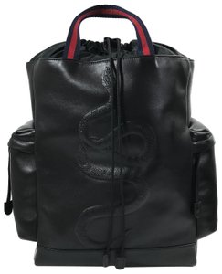 2a6ebd419ed6 Gucci Snake Embossed Drawstring Black Leather Backpack - Tradesy