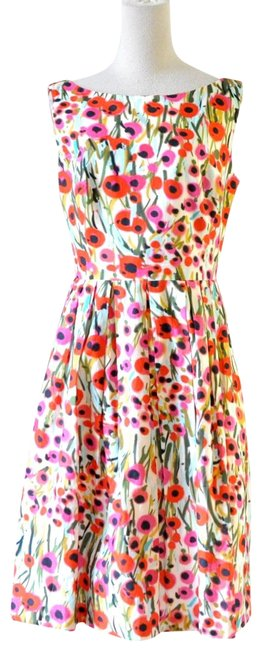 Item - Red Floral Printed Mid-length Short Casual Dress Size 4 (S)
