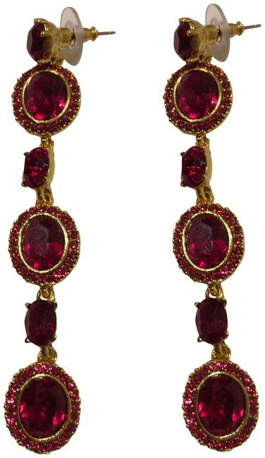 Item - Ruby Red New Crystals Long Earrings