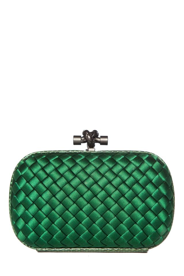2971ed9566066 Bottega Veneta Woven & Snake Trim Green Satin Clutch - Tradesy