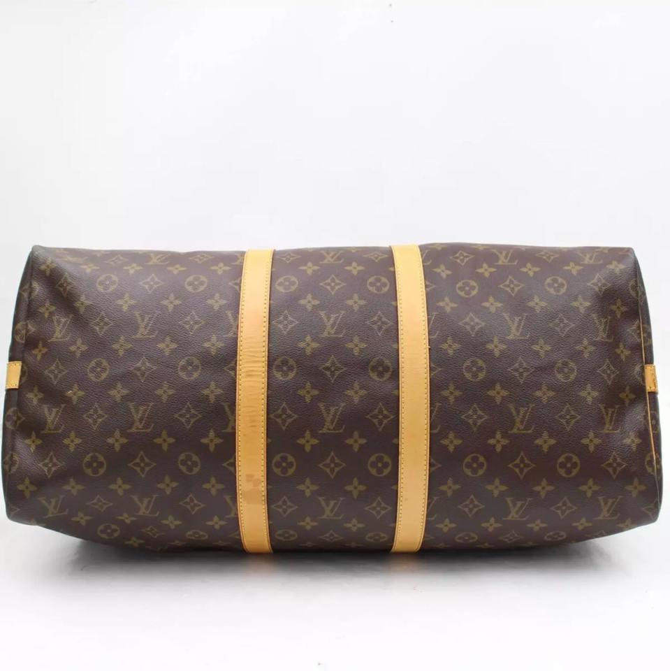 14eb6a25ec35 Louis Vuitton Keepall 55 Monogram Bandouliere with Lv Strap M41414 Brown  Canvas Weekend Travel Bag - Tradesy