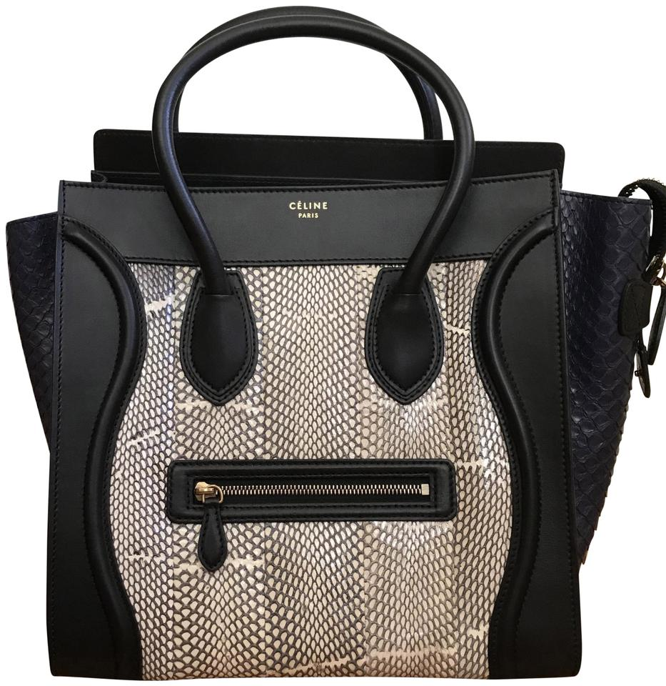 Céline Luggage Tri Color Mini Black White Blue Python Skin Leather Shoulder  Bag 09985c44f0732