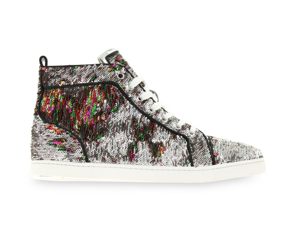 8bae18c29ae5 Christian Louboutin Bip Bip Paillettes Sequin Sneakers Silver Athletic  Image 0 ...