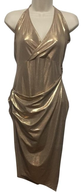Item - Gold Metallic Lame' Wrap-over Mid-length Night Out Dress Size 8 (M)