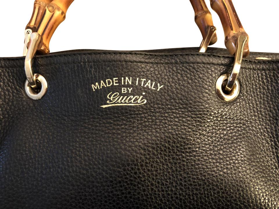a542a02227f2 Gucci Bamboo Leather Crossbody Tote in Black Image 0 ...