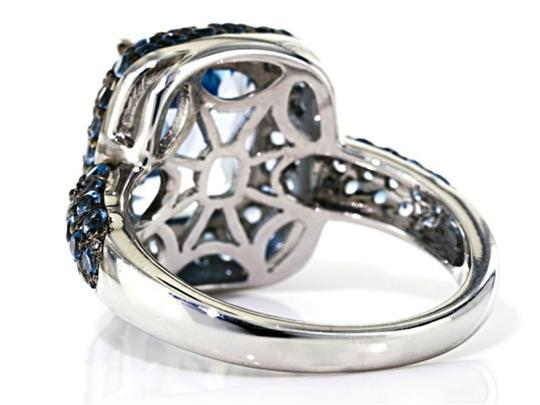 Elle Cross 4.35ct Cushion Swiss Blue Topaz & 1.14cttw Round Accents Ring