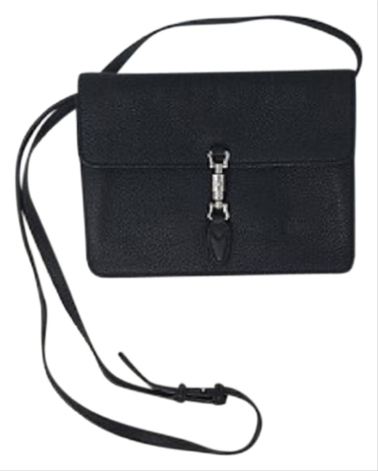 38a1a2b33b77 Gucci Jackie Soft Convertible Wallet Clutch Black Leather Cross Body Bag  51% off retail