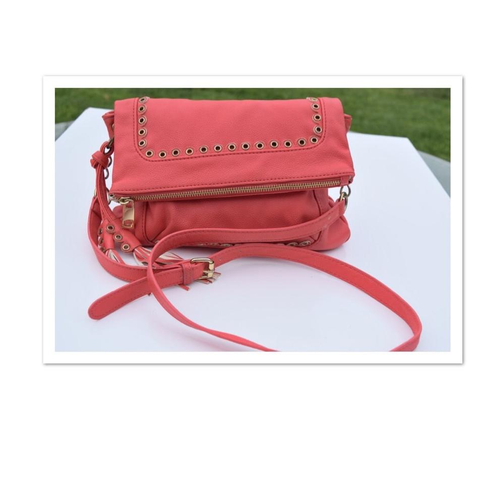 3731a99391cf Jessica Simpson Fold-over Coral Pink Faux Leather Cross Body Bag ...