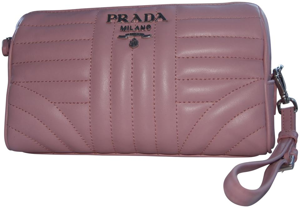 228a036f9b1b Prada Quilted Cosmetic Case Leather Wristlet in Pink Image 0 ...