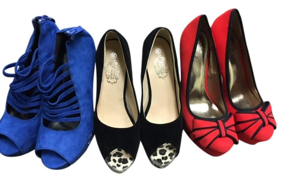 bea6f12fb7d Red Blue Black For 3 Pair 139 Pumps Size US 8.5 - Tradesy