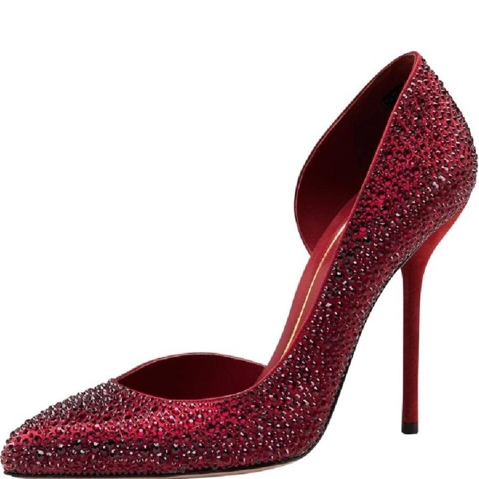 45c14ac3359 Gucci Red Noah  Evening Crystal D orsay High-heel Pumps Size US 8 ...