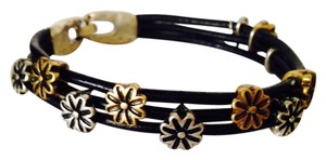Lucky Brand NWOT Two-Tone Flower Multi-Strand Leather Bracelet