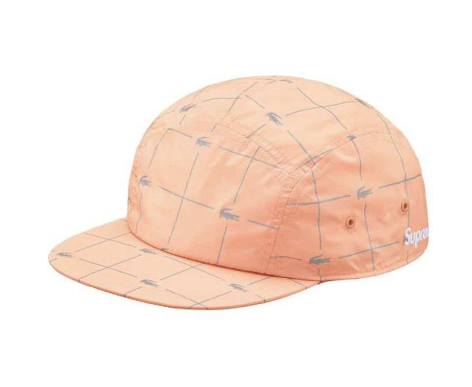 Supreme Peach Lacoste Reflective Grid Nylon Camp Cap Hat - Tradesy c421d0372604