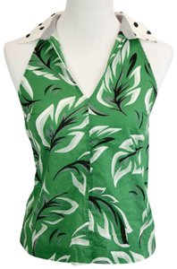 Anthropologie Polka Dot Palm Print Top Green White