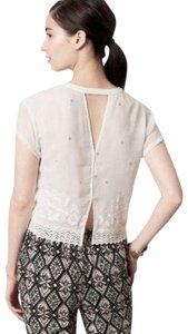 Anthropologie Embellished Embroidered Sheer + Cool Cut Out Back Top White