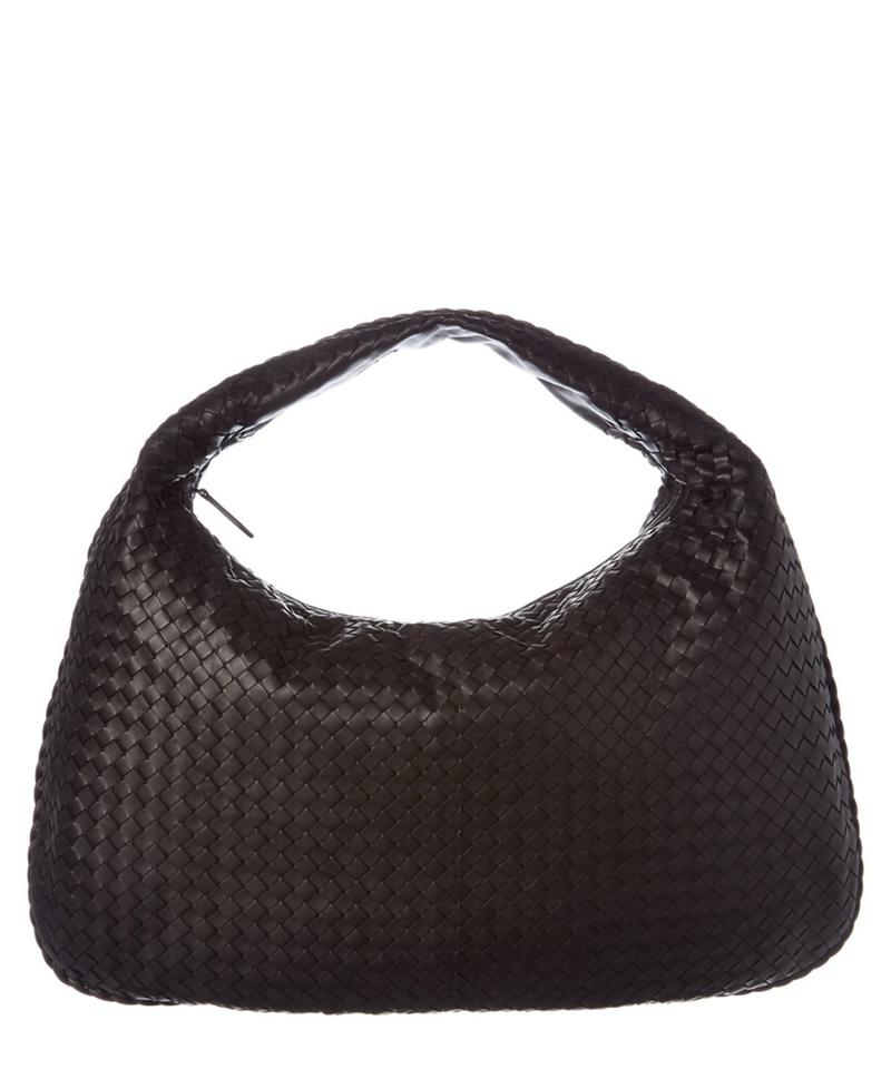 2b8a1885a858 Bottega Veneta Woven Intrecciato Maxi Hobo 866608 Dark Brown Leather ...
