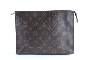 Louis Vuitton Poche Pouch Pochette Toiletries Brown Clutch