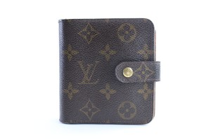 Louis Vuitton Compact Bifold Zippy Square Mens Brown Clutch