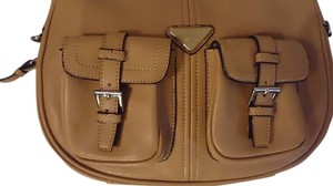 Pregio Womens Brown Tan Career Tradesy Shoulder Bag