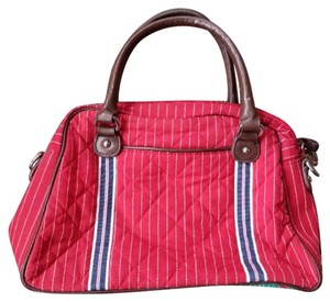 Vera Bradley Quilted And Blue Striped Cotton Satchel in Red, White