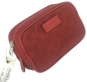 Gucci Gucci GG Red Nylon Canvas Zip Top Men's Bag #510341