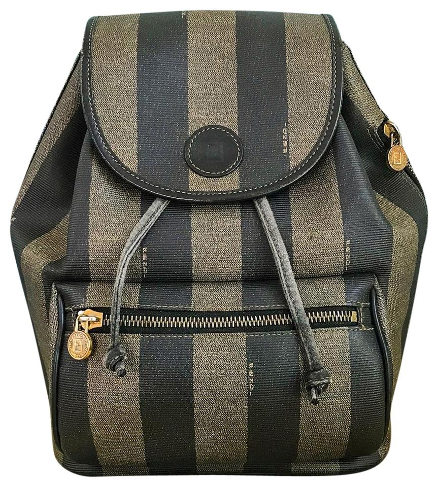 5537f2db6373 Fendi Pequin Stripe Brown Canvas Backpack - Tradesy