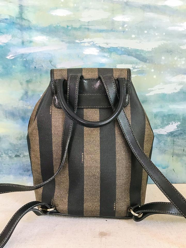 f030b10d5c Fendi Pequin Stripe Brown Canvas Backpack - Tradesy