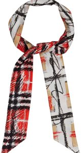 Burberry scribble Check skinny scarf