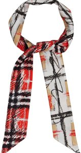 Burberry scribble check silk skinny scarf