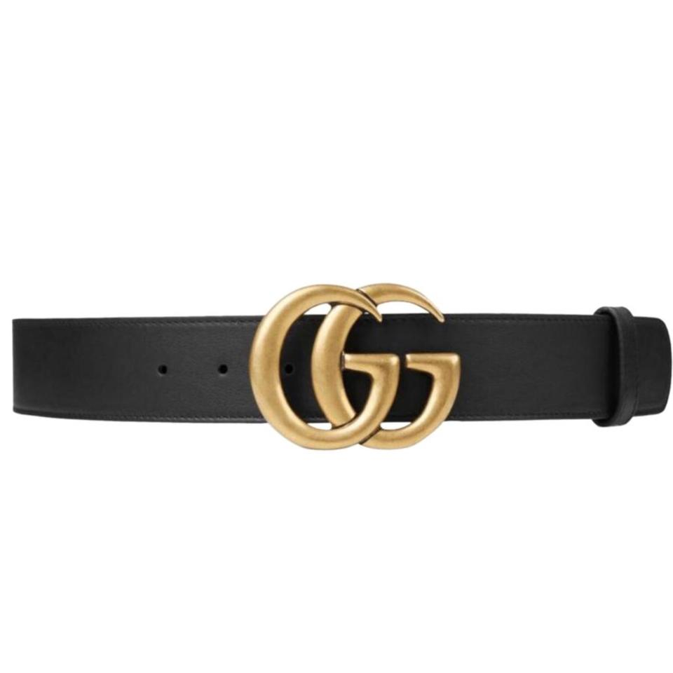 "508dbda8195 Gucci Black Marmont 2018 85 34 1.5"" Leather Gold Double Gg Logo ..."