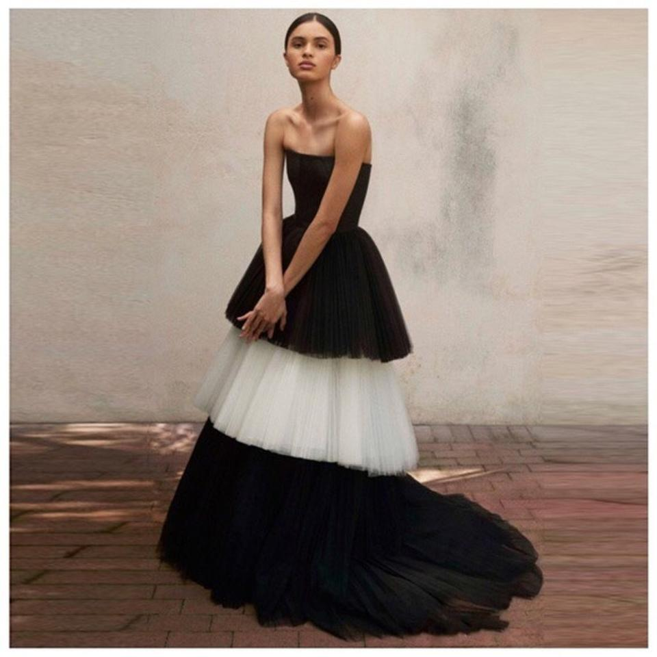 Black White & Layered Tulle Skirt Long Formal Dress Size OS (one ...