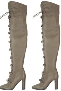 Jimmy Choo Thigh High Lace Up Over The Knee High Heels Gray Boots