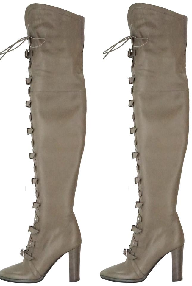 8e8328f2023 Jimmy Choo Gray Leather Maloy 95mm Heel Over-the-knee Thigh High Lace Up  Taupe Boots Booties