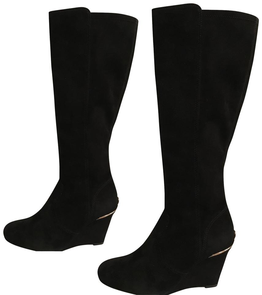 97f4e9453878 Tory Burch Suede Leather Knee High Night Out Dressy Black Gold Boots Image  0 ...