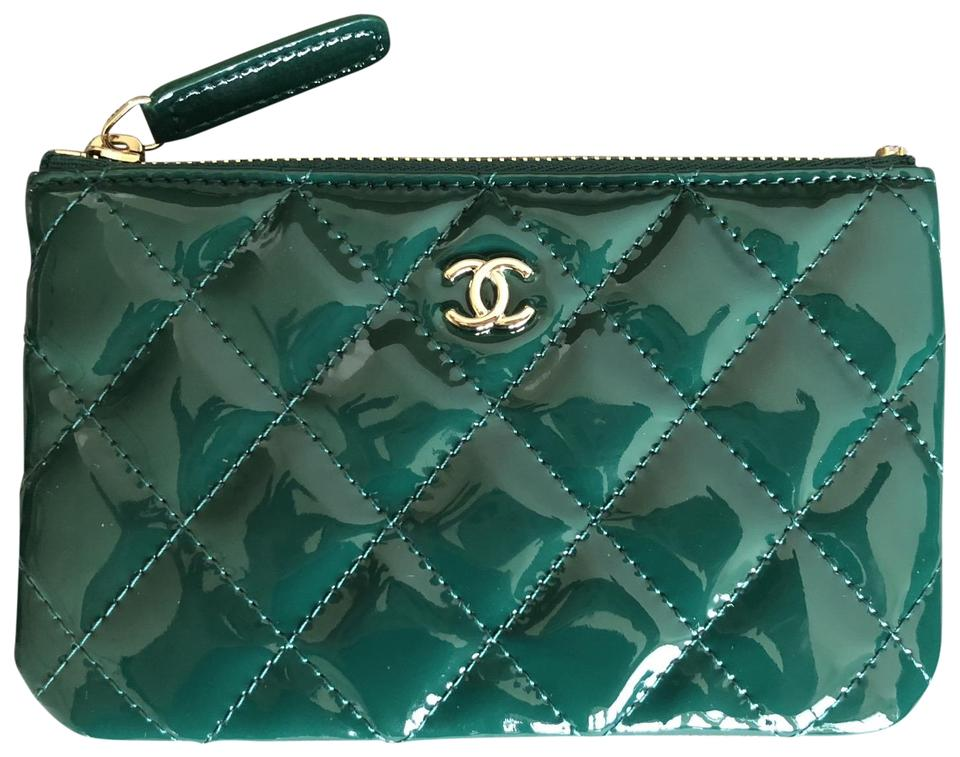 26d29188e844 Chanel Brand new chanel green patent leather mini o case wallet card holder  Image 0 ...