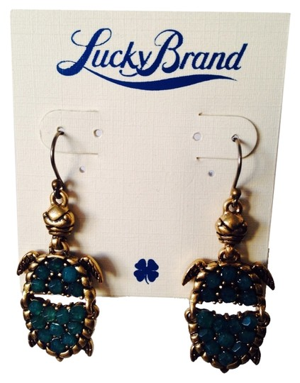 Lucky Brand Lucky Brand Teal Articulated Turtle Earrings