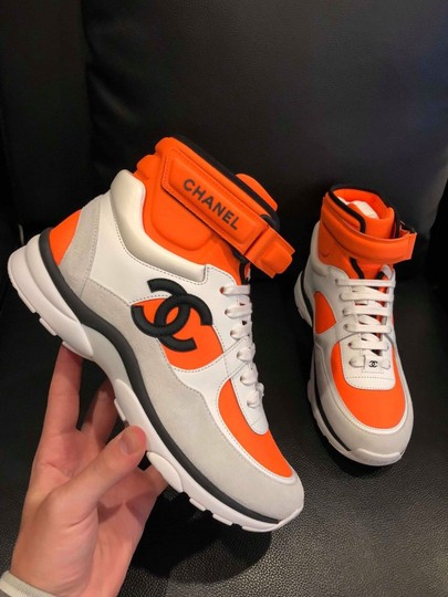 9bca2f890 ... Chanel Trainer Sneaker Flat Logo High White, Black and Orange Athletic  Image 1