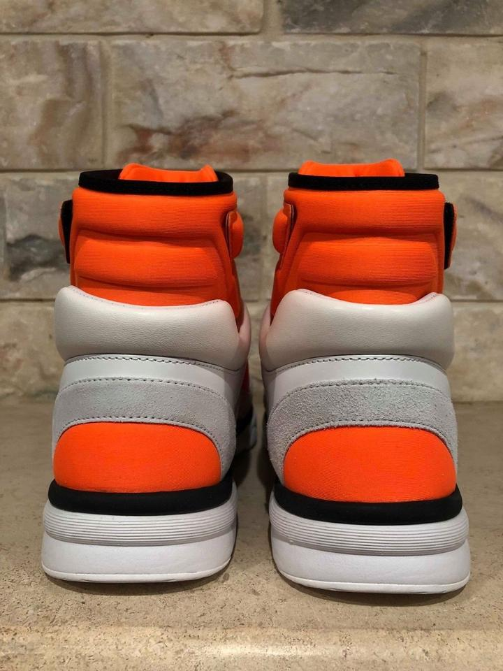 ed31a26c5 Chanel Trainer Sneaker Flat Logo High White, Black and Orange Athletic  Image 10. 1234567891011