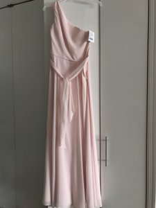 Amsale Peony (Pink) Flat Chiffon Laurie G894f One Shoulder Formal Bridesmaid/Mob Dress Size 4 (S)