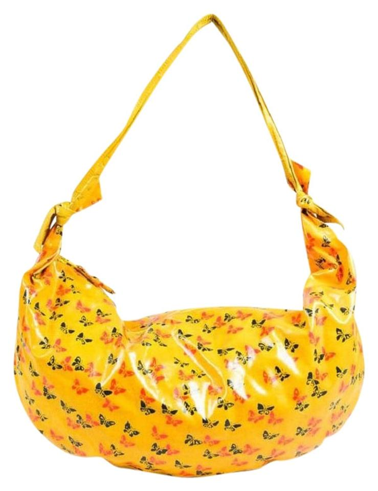 0f5d862448 Bottega Veneta Vintage Purses Designer Purses Red and Black Butterfly Print  On Yellow Glossy with Yellow Leather Hobo Bag