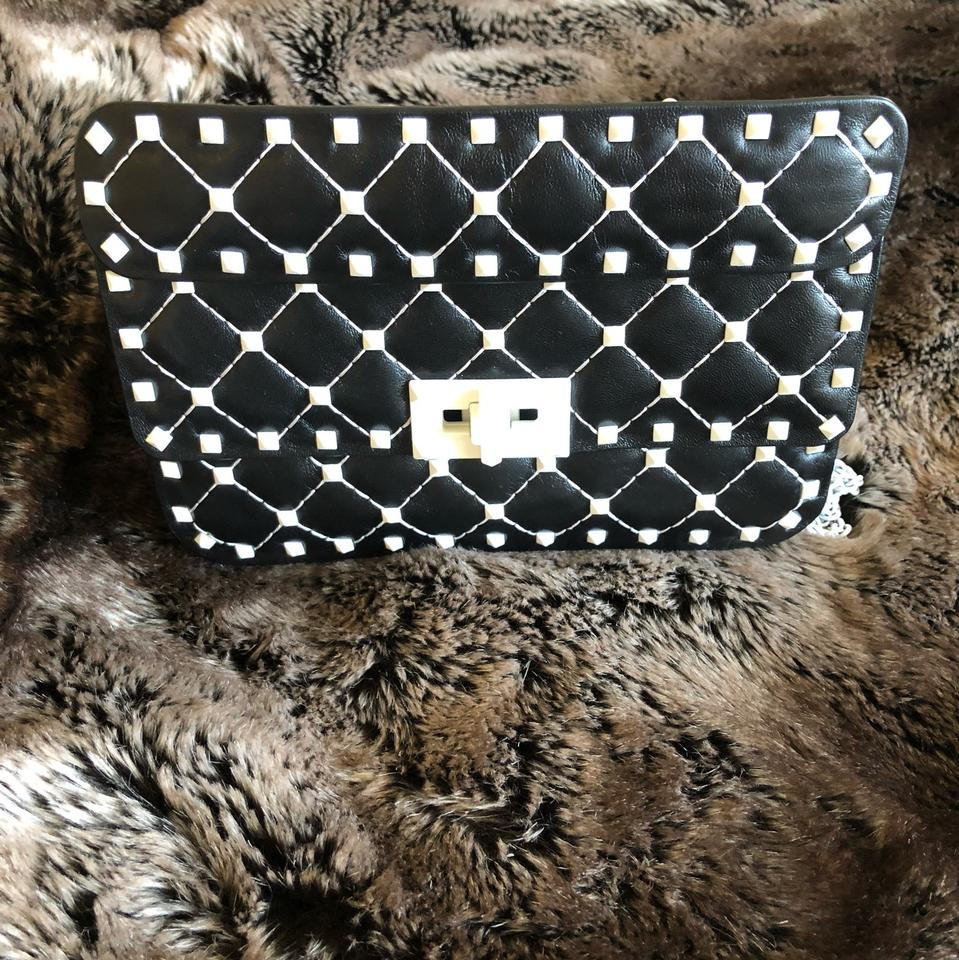 13b47ede4ce Valentino Spike Rockstud Small Chain Black/Navy and White Lambskin Leather  Shoulder Bag - Tradesy