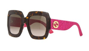 Gucci Gucci GG0102S 003 Havana Frames with Gold Glitter Arms Sunglasses NEW!