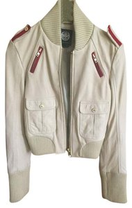 Rock & Republic Bomber Zippers Gold white with red trim Leather Jacket